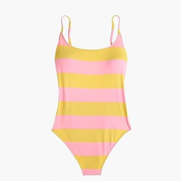 36b30de7122 J. Crew Swim | Jcrew Pink And Yellow Striped One Piece | Poshmark